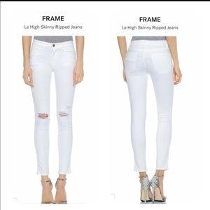 Frame Denim Le High Skinny Ripped Jeans White